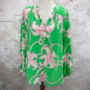 Lilly Pulitzer Silk Elsa Prep Green Pink Twinkle L